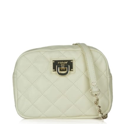 DKNY Kandy 81 White Leather Small Quilted Crossbody Bag