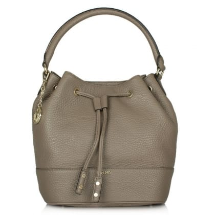 DKNY Kandy 28 Taupe Leather Bucket Bag