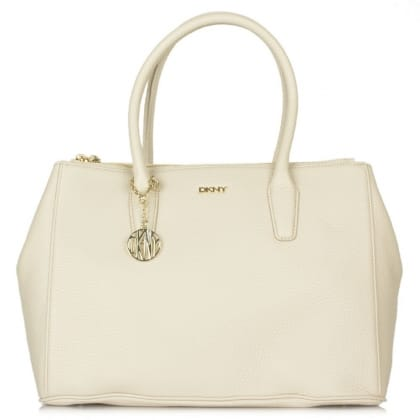 DKNY Kandy 29 Beige Leather Large Double Zip Shopper Bag