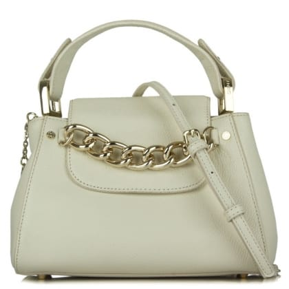 DKNY Kandy 79 White Leather Top Handle Crossbody Bag