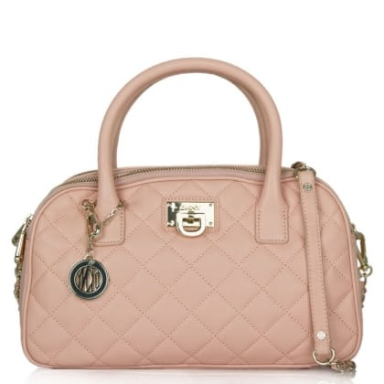 DKNY Kandy 85 Pink Leather Quilted Triple Zip Satchel
