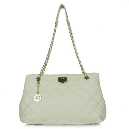 DKNY Kandy 84 White Leather Quilted Large Shopper