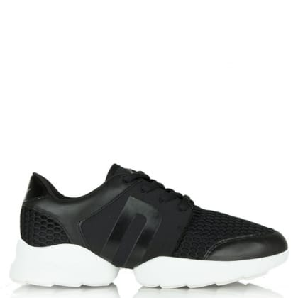 DKNY Pave Black Mesh Sporty Lace Up Trainer