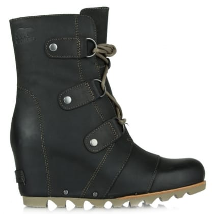 Sorel Joan Of Arctic Black Leather Wedge Winter Boot