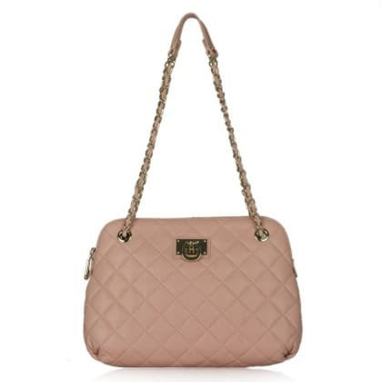 DKNY Kandy 82 Pink Leather Quilted Round Bottom Crossbody Bag