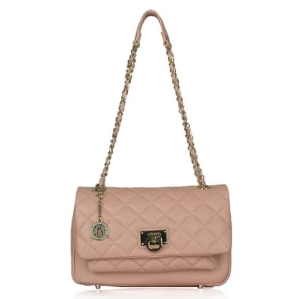 DKNY Kandy 83 Pink Leather Quilted Pocket Flap CrossBody Bag