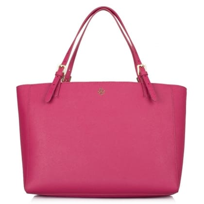 Tory Burch York Buckle Raspberry Saffiano Leather Tote Bag