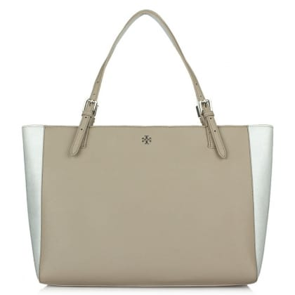 Tory Burch York Buckle French Grey & Silver Saffiano Leather Tote Bag