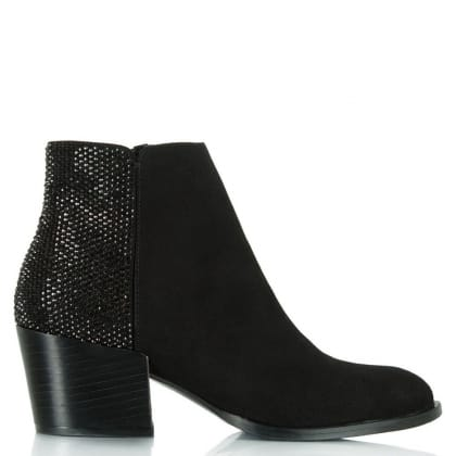 Daniel Pleasure Black Suede Diamante Ankle Boot