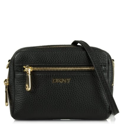 DKNY Lily Pebbled Black Leather Box Messenger Bag