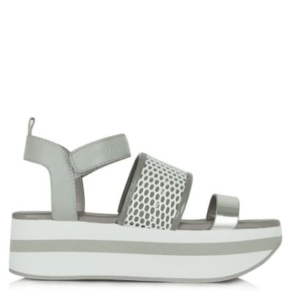 DKNY Valene Grey Leather Mesh Strap Platform Sandal