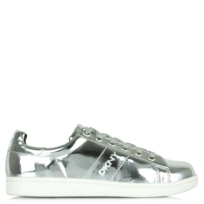 DKNY Clay Silver Mirror Metallic Lace Up High Top Trainer