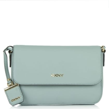 DKNY Rosie Soft Blue Saffiano Leather Front Flap Crossbody Bag