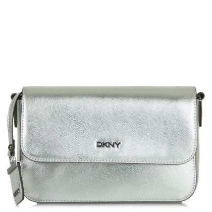 DKNY Rosie Silver Saffiano Leather Front Flap Crossbody Bag
