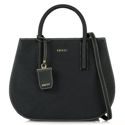 DKNY Tori Black Leather Round Tote Bag