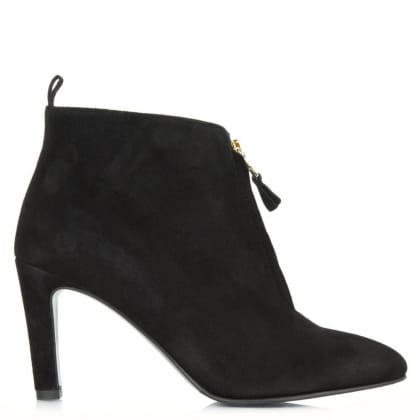 Kennel & Schmenger Moments Black Suede Zip Front Ankle Boot