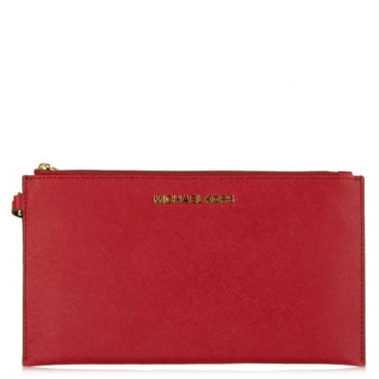 Michael Kors Large Jetset Zip Cherry Leather Clutch