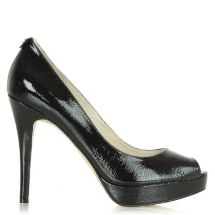 Michael Kors York Black Platform Patent Women's Court Shoe