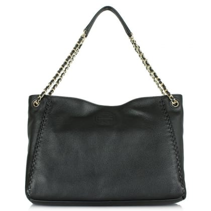 Tory Burch Marion Black Leather Chain Shoulder Tote