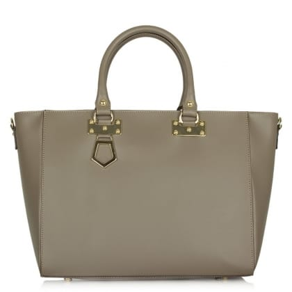 Daniella Taupe Leather Top Zip Tote Bag