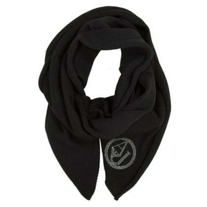 Armani Jeans Black Wool Mix Diamante Scarf