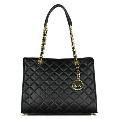 Michael Kors Susannah Medium Black Leather Quilted Tote