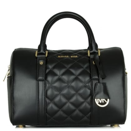Michael Kors Grayson Quilted Black Leather Barrel Bag