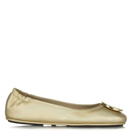 Tory Burch Minnie Gold Leather Holographic Ballet Flat