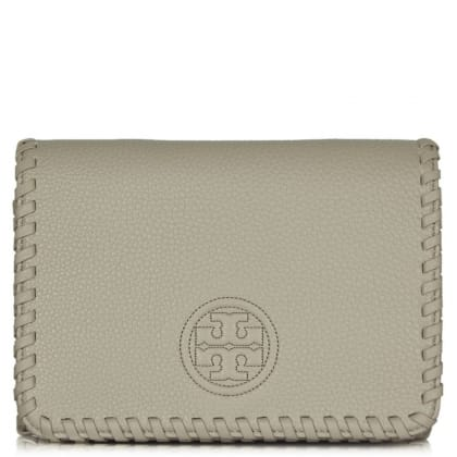 Tory Burch Marion Combo French Grey Leather Whipstitch Cross-Body Bag