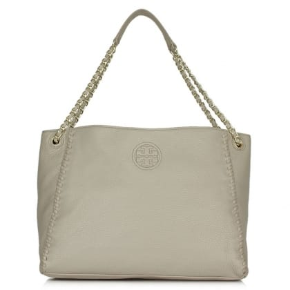 Tory Burch Marion French Grey Leather Chain Shoulder Tote