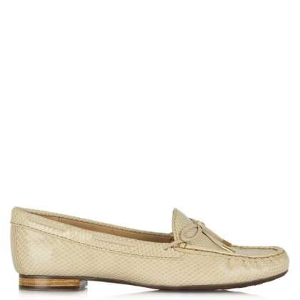 Daniel Alexandria Beige Leather Reptile Driving Loafer