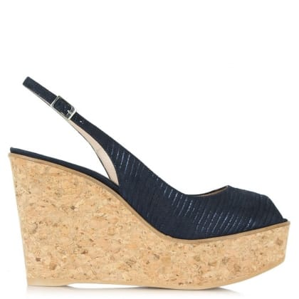 Daniel Aldwark Navy Suede Cork Peep Toe Sling Back Wedge