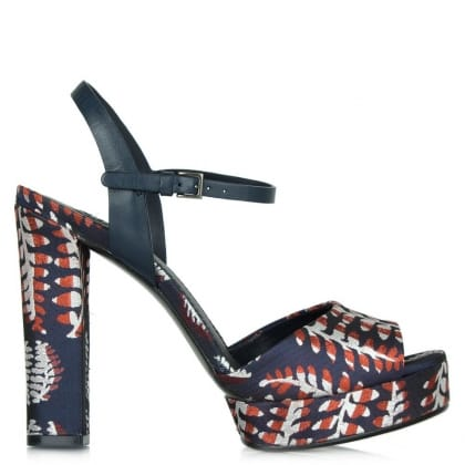 Tory Burch Navy Leaf Print 120MM Platform