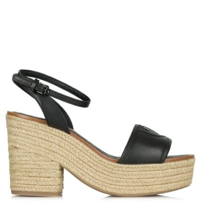 Tory Burch Marion 100MM Black Leather Block Heel Espadrille