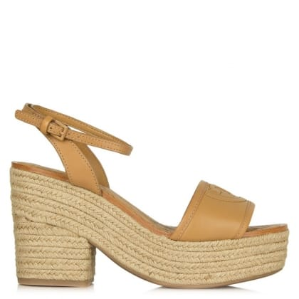Tory Burch Marion 100MM Tan Leather Block Heel Espadrille