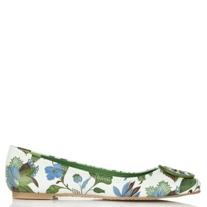 Tory Burch Reva Multicoloured Floral Leather Ballet Pump