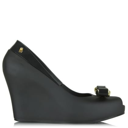 Melissa Queen Black Peep Toe Bow Wedge