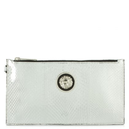 Versus Versace Lively Silver Reptile Wristlet Clutch