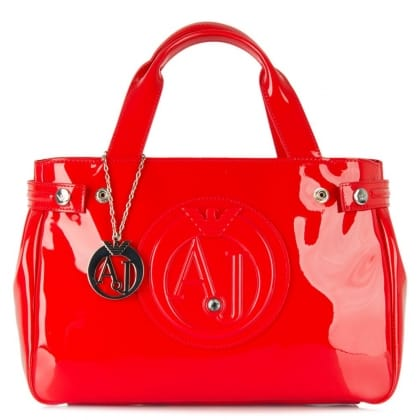 Armani Jeans Top Zip Slade Diamante Red Patent Tote Bag