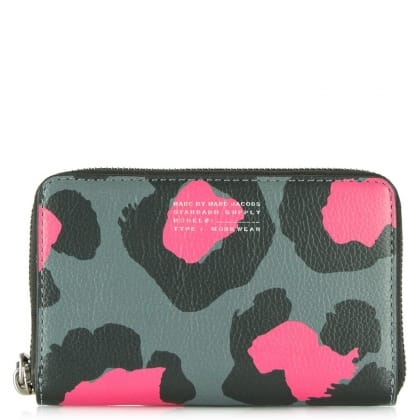 Marc Jacobs Leopard Print Leather Divine Wingman Wrist-Let Zip Around Wallet