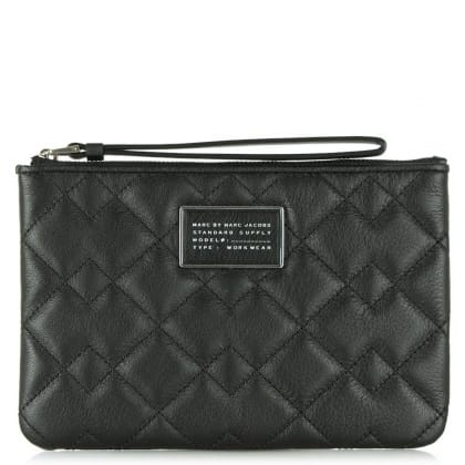 Marc By Marc Jacobs Crosby Black Leather Quilted Wrist-Let Pouch
