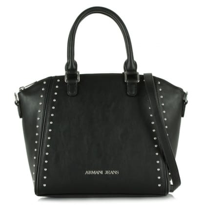 Armani Jeans Becks Black Leather Studded Bowler Bag