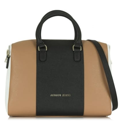 Armani Jeans Reese Tan Leather Panelled Bowler Bag
