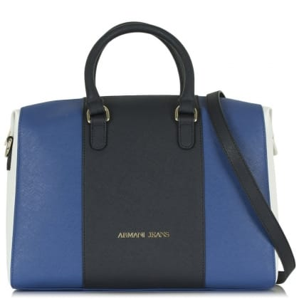 Armani Jeans Reese Navy Leather Panelled Bowler Bag