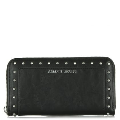 Armani Jeans Angelina Black Leather Studded Zip Around Wallet