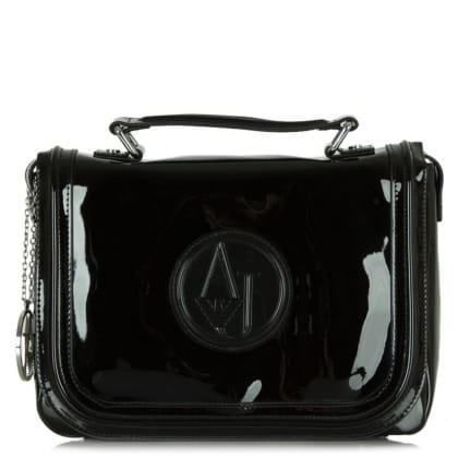Armani Jeans Alicia Black Patent Satchel Bag