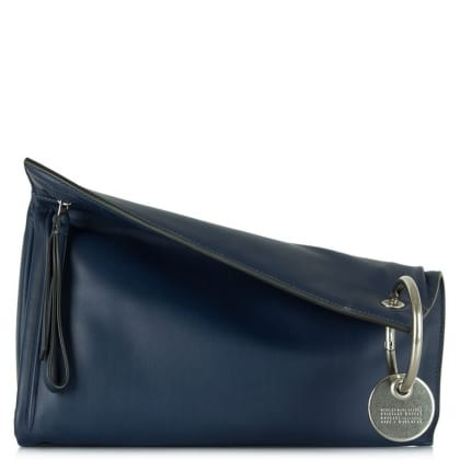 Marc By Marc Jacobs Prism Navy Leather Large Clutch Bag