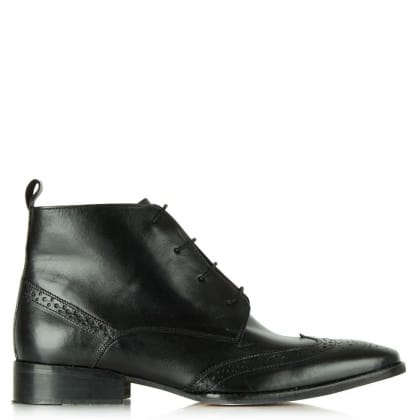 Gucinari Black Leather Lace Up Brogue Ankle Boot
