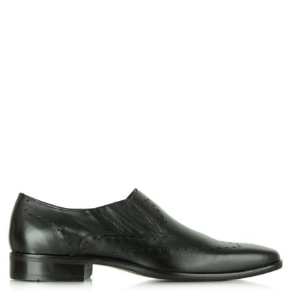 Daniel Jay Jay 282 Black Leather Punch Detail Loafer