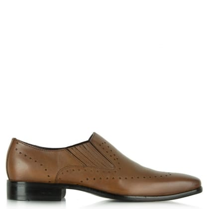 Gucinari Tan Leather Punch Detail Loafer